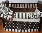 SALE! Custom Modpeapod Chocolate Brown Cream Ivory Damask Stripe Polka Dot Crib Baby Bedding Set ONLY ONE on sale and ready to ship