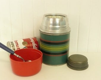 1950s SOUP Thermos, Pint Size Wide Mouth, Rexall Brand, Picnic Camping Thermos, Green Striped - Vintage Travel Trailer Decor