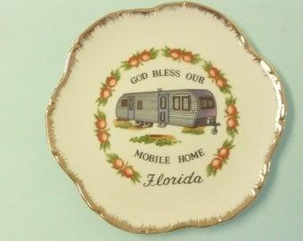 Vintage Atomic Plate, God Bless Our Mobile Home, Florida Souvenir, Original Sticker, Decorative Plate