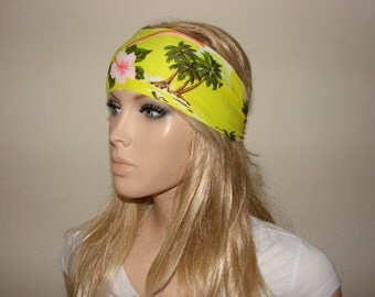 yoga headband - tropical running headband - yellow palms workout headband - excercice headband - fitness hair band - Woman boho head wrap