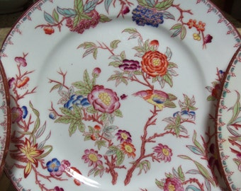 23 Piece Antique French Sarreguemines Dinnerware Set/Circa 1815 /Minton Design/ 252 Pattern/ Chinoiserie Style /Birds/ Dinner Party
