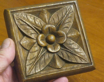 Wooden Carved Flower , Floral Carving , Flower Decor. Trim Block