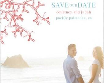 Coral Reef Save The Date - Beach Wedding - Nautical Wedding - Seaside Wedding
