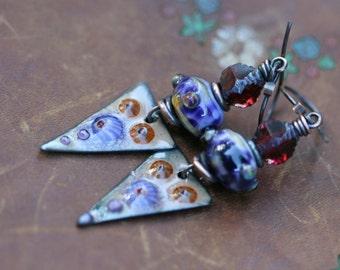 Rustic Fine Bohemian 'Flora' * earrings n90- earthy earrings . Spring jewelry . Tribalis . Romantic Flowers Garden . artisan Enamel Focal