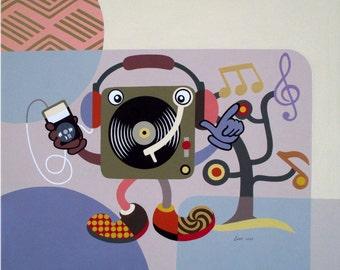 "Large Pop Art on Canvas, Original Music Art Decor, Turntable Retro Painting, Humorous Art on Canvas - 30"" X 36"" X  7/8"