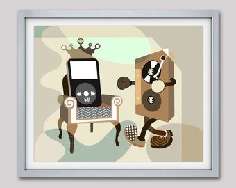 Music Art Print, Retro Music Poster, Cassette Tape Art, Living Room Art,  Funny Poster, Brown, Beige, Tan, Brown Grey