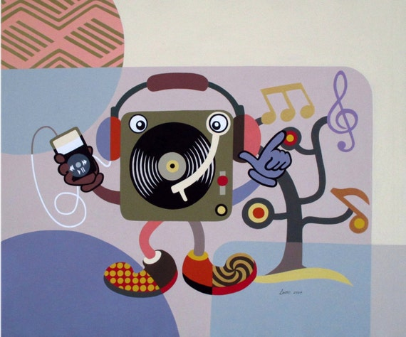"Large Pop Art on Canvas, Original Music Art Decor, Turntable Retro Painting, Humorous Art on Canvas - 30"" X 36"" X  7/8"