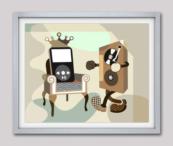 Music Wall Art Print, Retro Music Poster, Cassette Tape Art, Musician Gifts, Music Teacher Gift, Music Poster, Music Decor, Music Lovers Art