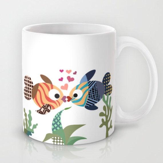 Fish Mug, Love Mug, Valentine Gift, Unique Coffee Mug, Mermaid Gift, Drinking Mug, Cool Coffee Mug, Turquoise, Blue, Tea