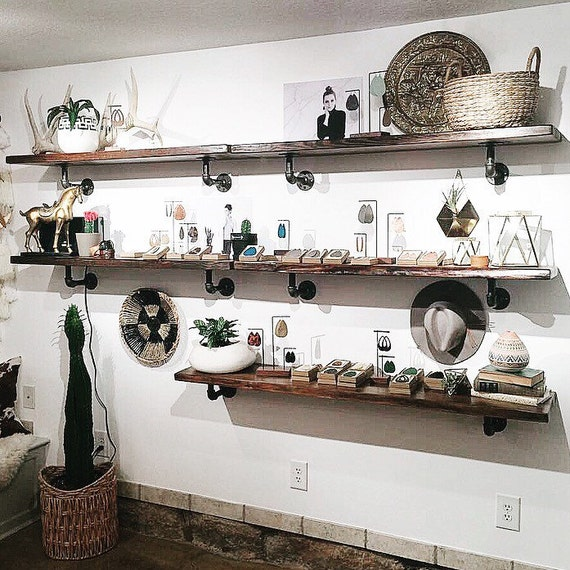 Reclaimed Wood Retail Kitchen Wall Mount Shelves Floating