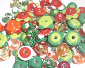 RED GREEN White MIX - Handmade Glass Lampwork Beads -Holiday Christmas Mix  - Set of 20