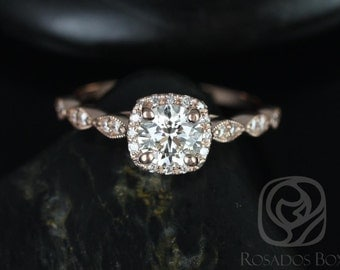 Rosados Box Christie 3/4ct 14kt Rose Gold Round Diamond Cushion Halo WITH Milgrain Engagement Ring