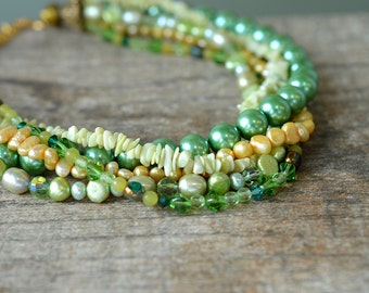 Green layered choker necklace Semi precious stone necklace Multistrand pearl torsade necklace Office statement jewelry