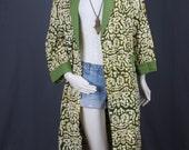 Kimono Jacket Duster Coat Caftan green cream Boho Bohemian Gypsy size L Large