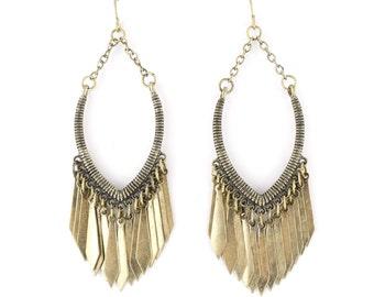 Vintage Feel Gold Tone Similar Fringe Dangle Drop Earrings,B17