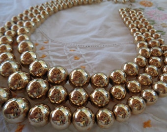 Multi Strand Bead Necklace Gold Tone Jewelry Metal Jewelry