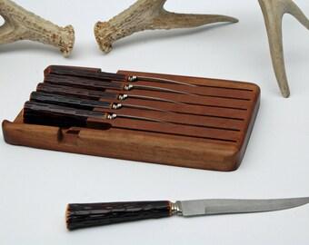 Faux Antler Knife Set Bakelite Knife Set Vintage Knife Set Steak Knifes Washington Forge Stainless Antler Knives Bakelite Knives 6 Piece
