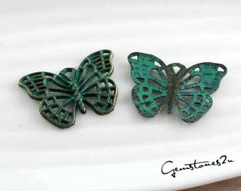 20pcs 17x25mm Butterfly Charms -Antique Bronze Rustic Patina Butterfly Charm Pendant, Green Patina Butterfly Charms, DIY Supplies