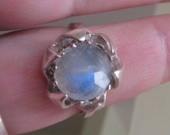 Rainbow Moonstone ring - Sterling Silver stone Ring