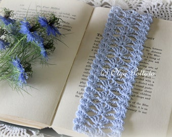 Blue Lace Crochet Bookmark or Edging Pattern, Lace Trim, Easy Crochet Pattern