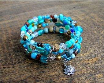 Valentines Day Sale Bohemian Gypsy Bracelet - Bohemian Blue Bracelet - Boho Bracelet - Turquoise Blue Bracelet