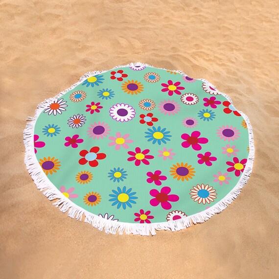 Flower Power Beach Towel Large Round Beach Towel Turquoise