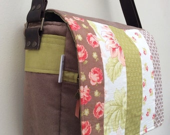 Green, brown and peach floral messenger bag