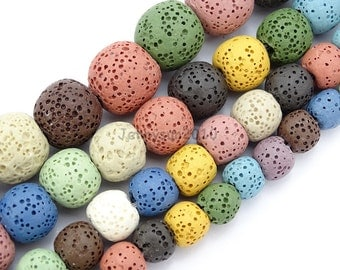 Colorful Volcanic Lava Gemstones Round Spacer Beads 15.5'' 8mm 10mm 12mm 14mm Great For Jewelry Design