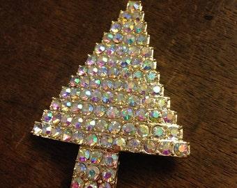 Christmas Tree Aurora Borealis Rhinestone Pin/Brooch
