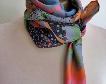 1970s NIK-NIK scarf,psychedelic scarf, festival wear, vintage scarf, square scarves, boho scarf, hippie scarves,