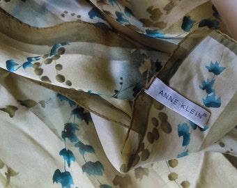 Anne Klein Sage Blue Leaves Silk Scarf