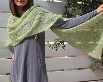 Modern lace shawl, beautifully hand knitted in a dusty sage kid-mohair & silk blend