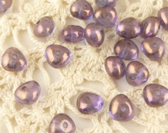 6mm Metallic Amethyst Lilac Rounded Triangle Spacer Bead (20)
