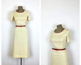 70s Cream Sheath Dress with Red Belt • Vintage Cotton Dress • Belted Casual Day Dress • Large