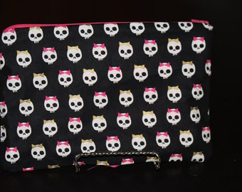 Medium Cute Skull Pouch with Pink Lining - Zipper Pouch, Makeup Bag, Black, Gold, Pink, Hot Pink, Catch All, Clutch, Pencil Bag
