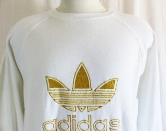 rare vintage 90's Adidas gold thread embroidered tre-foil logo white fleece graphic sweatshirt crew neck pullover jumper raglan sleeve large