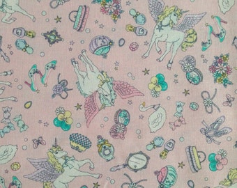 Cute Unicorn Pegasus Print Japanese Fabric Pink - 110cm x 50cm