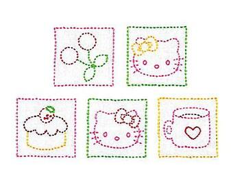 Olympus Sanrio Hello Kitty Design Sashiko Coaster Kit 5 Pcs with Cloth and Threads  - Traditional Japanese Craft