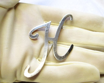 Letter H Brooch - Vintage Sterling Silver Monogram Initial Pin