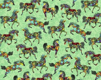Fat Quarter Painted Ponies On Green 100% Cotton Quilting Fabric