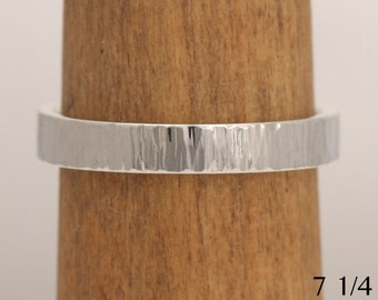 Hammered white gold wedding band, size 7 1/4 ready to ship or custom sizes, #717.