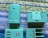Vintage plastic dollhouse furniture kitchen setup