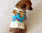 """Flannel Wiener Dog Print Harness for Small Dog - Calling All Doxies!  Multicolored, """"Squiggle of Mustard with Onion Slice"""" Bow"""