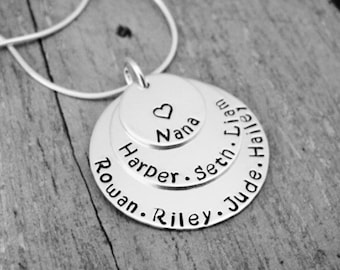 Mommy Necklace, Mother, Mom, Grandmother, Grandma, Nana Custom Made Triple Solid Sterling Silver Personalized 3 Layer Name Necklace (1 inch)