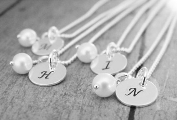 4 Personalized Bridesmaid necklaces, Bridal jewelry, Custom initial necklaces, Sterling silver wedding jewelry, Handstamped initial necklace