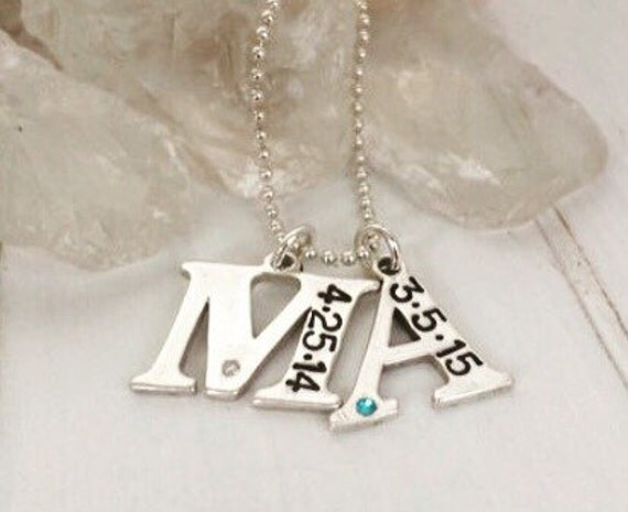 Personalized Initial Necklace, Sterling silver initial necklace, 2 Children's initials, Custom Mother Necklace, Initial & Birthstone Letter