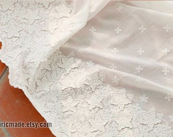 Light Off White Cotton 3D Flower Borders Fabric White Lace fabric Lace cotton Border Flower Embroidery Cotton - 1/2 yard