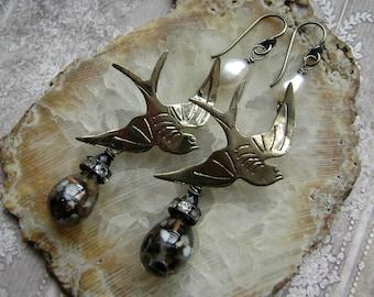 Midnight Bird, bird earrings, mixed metal earring, assemblage earring, nature inspired, lampwork headpin,vintage metal birds, AnvilArtifacts