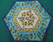 Aqua, Yellow and Cream Hexagonal Floral and Hummingbird Table Topper