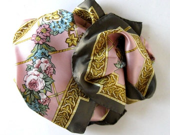 """Vintage Floral Silk Scarf, Italian designer style, hand rolled hem, Pink and gold, Woman's Accessory,  34"""" x 34"""", gift idea"""